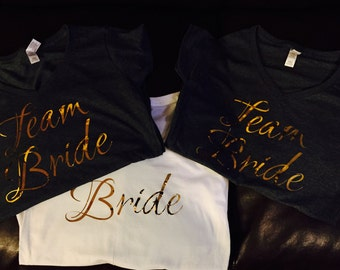 6 Team Bride T-Shirts - Bridal Shower, Stag N Doe