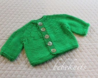 Hand Knit Round Yoke Baby Cardigan 6-12 Months