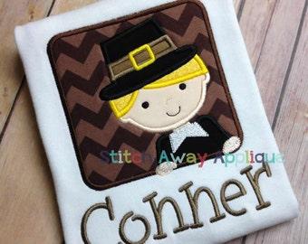 Thanksgiving Pilgrim Boy Peeking Box Machine Embroidery Applique Design