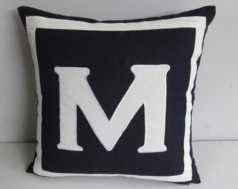 Navy blue initial pillow. Monogrammed pillow. Navy blue monogram pillow cover with white letter and border. Letter cushion cover.