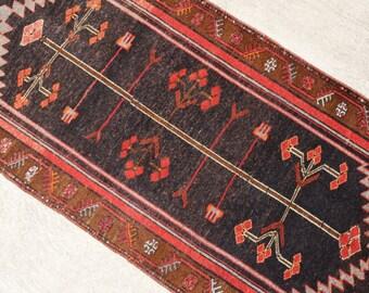 Black Kazak Rug, Turkish Rug , Anatolian Rug , Vintage Rug , Boho Rug, Oushak Rug, Kilim Runner, Runner Rug  302 x 112 cm / 9.9 x 3.6 ft
