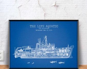 THE BELAFONTE patent print, The Belafonte poster, The Belafonte blueprint, Wes Anderson Poster, The Life Aquatic, Steve Zissou, #1311