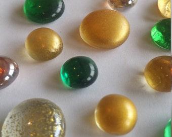 Mosaic Tiles, Green & Gold Holiday Flat Back Glass Gem Mix - 50 Gems - Shimmer, Shiny,Flat Marbles, Floral, Wedding, Vase Filler, Christmas