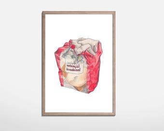 Flour Illustration print