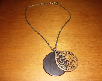 """18"""" Signed Lucky Brand Antiqued Rope Chain Necklace with Wood and Gold Toned Metal Enhancer Pendant"""