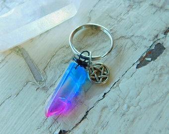 Angel Aura Quartz Pentacle Keychain