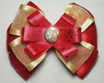 Elegant Red and Gold Bow,  Red Party Bow, School Photo Bow, Gift for Girl, Gift under 20, Gift for Her