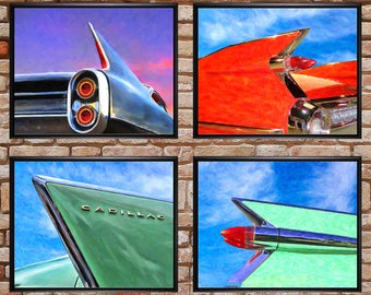 Cadillac Fin Posters - Discounted Set of 4 - Vintage Cadillac Poster - Man Cave Fathers Day Sale Wall Art #vi769