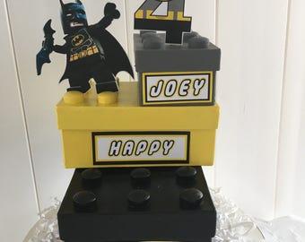 Superhero Building Blocks Birthday Centerpiece
