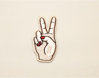 V sign patch - peace sign patch, iron on patch, embroidered patch hand, sew on patch