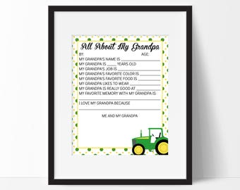 Fathers Day Gift - All About My Grandpa Questionnaire - Draw My Daddy Gift - First Fathers Day Gift - Gifts for Grandpa - Download 8x10