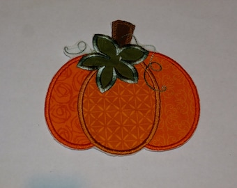Embroidered Iron On Applique-Small Fall Pumpkin