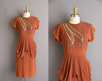 ON LAYAWAY...40s cinnamon rayon crepe gold sequin vintage dress. 1940s vintage dress