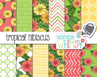 Floral Digital Paper - Tropical Hibiscus and Philodendron seamless patterns - Hawaii scrapbook paper - flower patterns - commercial use OK