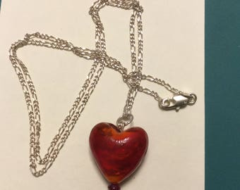 Beautiful Glass Heart with Chain Necklace