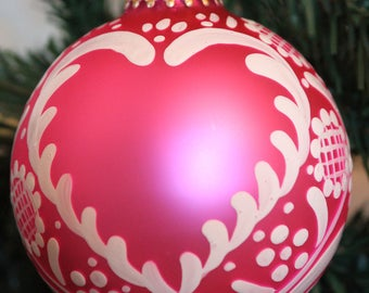 handmade custom pink glass tradition of Alsace, painted Christmas ornament