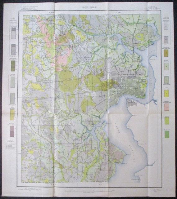 Jacksonville Florida Large Antique MapSt Johns River Minor