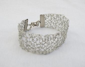 Handmade wire crochet bracelet