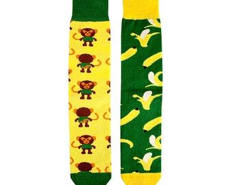 "Lucky sock ""Monkey food"". Colorful socks, unisex gift, original socks, Animal socks, socks, socks"