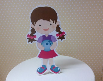 Girls or Boys Bowling Cake Topper Decoration