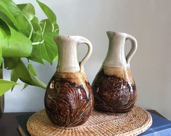 Set of 2 Vintage Stoneware Small Pitchers // Oil & Vinegar