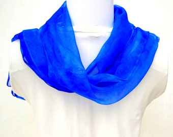 Hand dyed Silk Scarf,  Silk Gauze Scarf, Gift for Her, Made in Australia, Ready to ship, 60 x 11 inches, SallyAnnesSilks S190