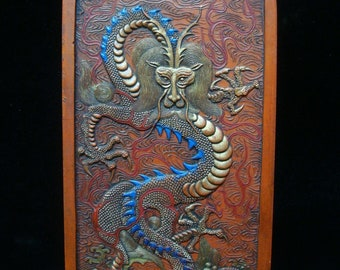 Old Large Chinese Red Zinnober Dragon Carving Ink Stick Inkslab Marks