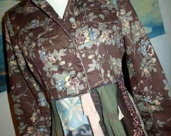 Size Large, upcycled, coat,wearable,art,artsy,dress,long,repurposed,patchwork,holly hobby,shabby chic, clothing,one of a kind,vintage