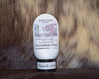 Reindeer Poo, goat milk lotion, natural lotion, natural skincare, moisturizer, body lotion, hand lotion, scented lotion, hand cream