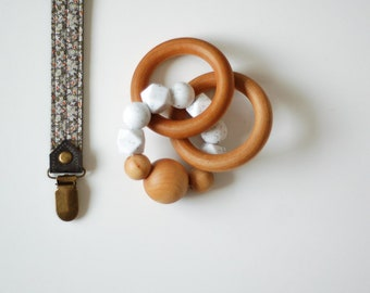 Leather Pacifier Clip & Teething Ring Set    Silicone ring, Leather Pacifier Clip Boy, Baby Boy gift, Toy leash, Teether Toy, Silicon Ring