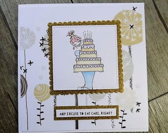 Any excuse to eat cake right? - tiered cake card, birthday cake card