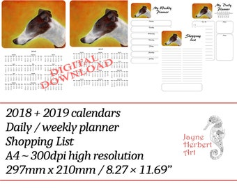 """Printable Greyhound calendar 2018 / 2019 and planners - """"Tilly the Greyhound"""""""