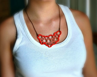 Bib Fiber Necklace - Modern Crochet Jewelry - Orange - Geometric Circles - Bubbles