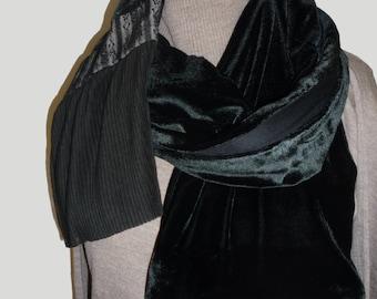 Scarf Shawl Elegant black velvet Italian style