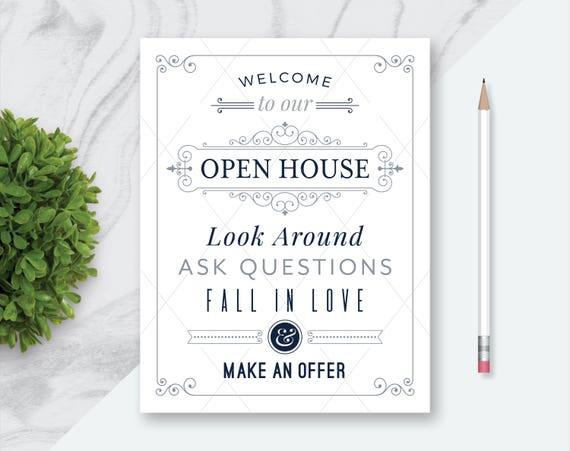 Rare image with welcome to our open house printable