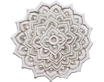 Ceramic tile wall art with mandala design, decorative tile, ceramic wall art, hand painted tile, mandala #2, Cutout, beige