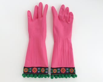 Fancy Floral Gloves for Cleaning Dishes. Size Large. Pink Latex Rubber Spring Cleaning Kitchen Gloves. Gift for Her. Gift Under 30.
