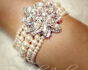 Pearl Bridal Bracelet - Multi 5 Strand Cuff with Crystal Brooch - Ivory or White Pearls - CAROLYN