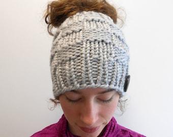 Messy Bun Beanie Messy Bun Hat Bun Hole Hat Ponytail Hat with Ponytail Hole Gift for Her - Handmade in Alaska Wool Blend Harbor Mist Gray