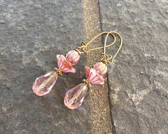 Pink Punch Teardrops Czech Glass  Dangle Earrings \\Whimsical Earrings\\Boho Jewelry\\Wedding Jewelry\\ Valentine's day Gift