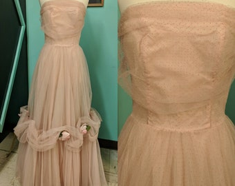 Vintage 50s Dress Tulle Prom Small Formal VLV Pink Strapless