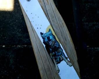 Blue Heeler hand-painted dog cuff bracelet - powder blue brown gold leaf