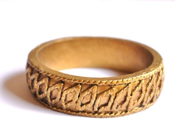 Handmade Vintage Golden Bracelet - Sculpted Bangle Bracelet, Tribal Jewelry, Boho Chic Bracelet