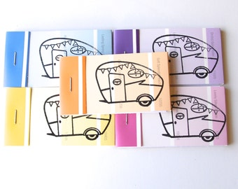 PAINT CHIP MATCHBOOK notepads Set of 5- Shasta Camper in brights