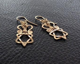 STAR of DAVID Gold Earrings, 14k gold filled dangle earring, magen david gold drop earrings, gold dangle earrings, tribal gold jewish star