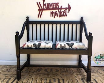 PAINTED & UPHOLSTERED to ORDER Bench with Two Seats Any Color and Fabric Choice Bench Entryway Bedroom Living Room Porch Farmhouse Coastal