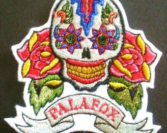 Embroidered Applique Iron On Patch, Day of the Dead, Palafox Patch, Sugar Skull, Gothic, Biker, All Souls Day