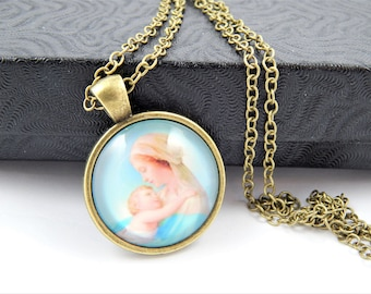 Virgin Mary with Infant Jesus Cabochon Catholic Necklace - Catholic Jewelry - Religious Jewelry - Catholic Medal Necklace - BR