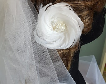 White Feathered hair accessory