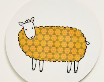 Sheep Coaster - Yellow